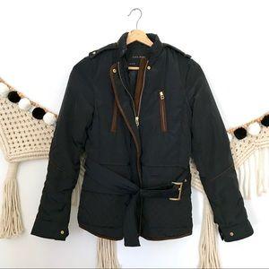 ZARA Navy Belted Quilted Zip Puffer Coat Jacket